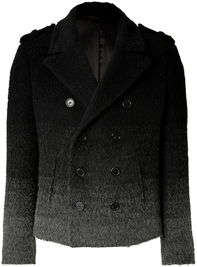 Neil Barrett Wool Blend Color Fade Pea Coat | Where to buy &amp how