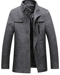 S&S-Men Ss Autumn Winter Casual Stand Collar Button Front Business Wool Blend Pea Coat