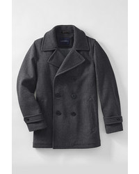 Lands' End Tall Herringbone Wool Peacoat Dark Charcoal Herringbone