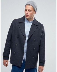 Asos Wool Mix Peacoat In Dark Gray