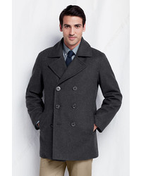 Men's Charcoal Pea Coats from Lands' End | Men's Fashion