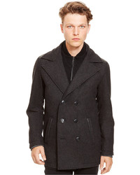 Kenneth Cole Reaction Wool Peacoat With Faux Leather Trim