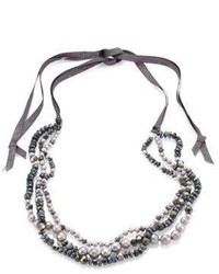 Chan Luu 6mm Grey Potato Pearl 9 10mm Cultured Freshwater Pearl Pyrite Mystic Lab Tie Necklace