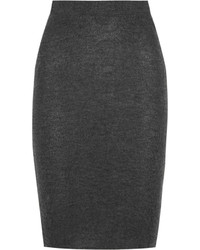 The Elder Statesman Cashmere Pencil Skirt Dark Gray