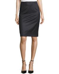 Oscar de la Renta Wool Blend Pencil Skirt Charcoal