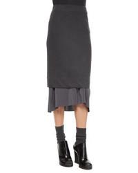 Brunello Cucinelli Wool Blend Pencil Skirt With Flutter Hem