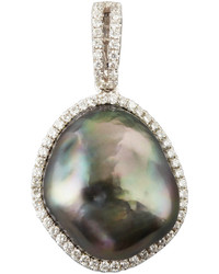 Eli Jewels Gray South Sea Pearl And Diamond Halo Pendant 026 Tcw