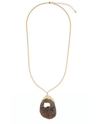 Ily Couture Sliced Druzy Stone Pendant Charcoal