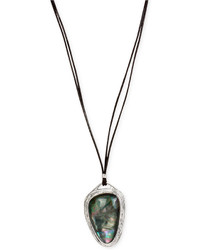Robert Lee Morris Soho Silver Tone Organic Cabochon Pendant Long Leather Necklace