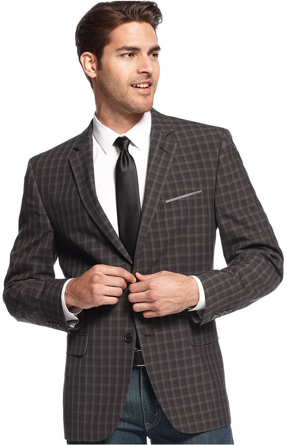 Alfani Red Sport Coat Charcoal Plaid Slim Fit | Where to buy &amp how