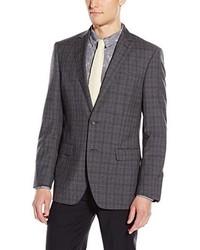 DKNY Druce Modern Fit 2 Button Side Vent Notch Lapel 100% Wool Plaid Jacket Grey