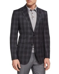 Plaid wool blend two button sport coat charcoal medium 3942289