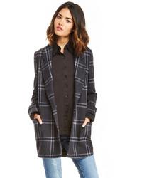 J.o.a. Classic Plaid Collar Coat In Charcoal Xs L