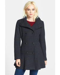 GUESS Plaid Skirted Wool Blend Coat