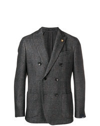 Charcoal Plaid Double Breasted Blazer
