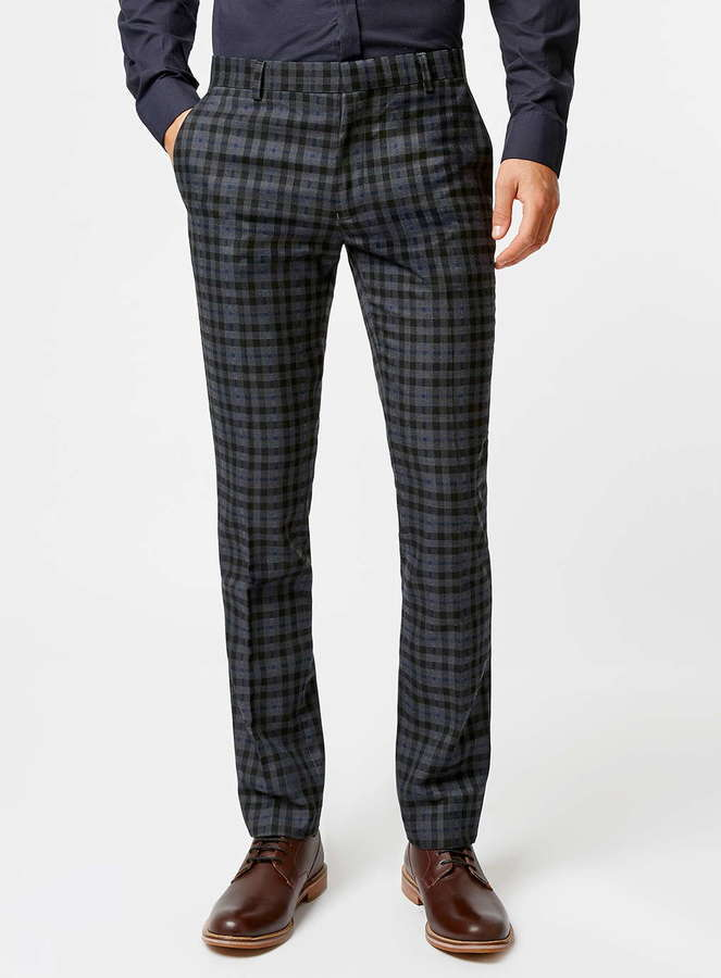e99b23cfa6a2 Topman Navy And Grey Check Skinny Fit Suit Pants, $130 | Topman ...