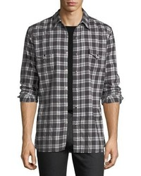 Saint Laurent Classic Flannel Plaid Western Shirt
