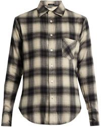 R13 slim boy checked cotton blend flannel shirt medium 1159397