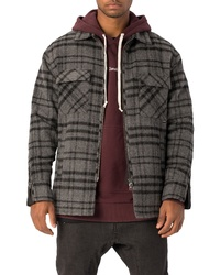 Charcoal Plaid Flannel Shirt Jacket