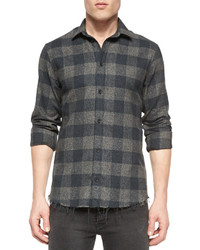 IRO Plaid Long Sleeve Woven Shirt Gray
