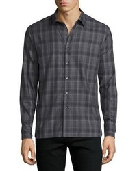 Ovadia & Sons Plaid Woven Sport Shirt Gray Pattern
