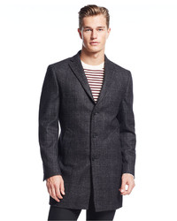 DKNY Denn Black Tonal Plaid Slim Fit Overcoat