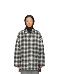 Balenciaga Grey Check Flannel Padded Shirt Coat