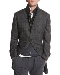 Brunello Cucinelli Plaid Single Breasted Overcoat Gray