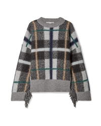 Stella McCartney Oversized Fringed Plaid Intarsia Wool Sweater