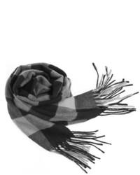 ChicNova Fringe Hem Scarf With Check Print In Black White And Gray