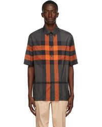 Burberry Orange Grey Check Thames Short Sleeve Shirt