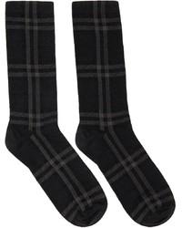 Burberry Grey Intarsia Check High Socks