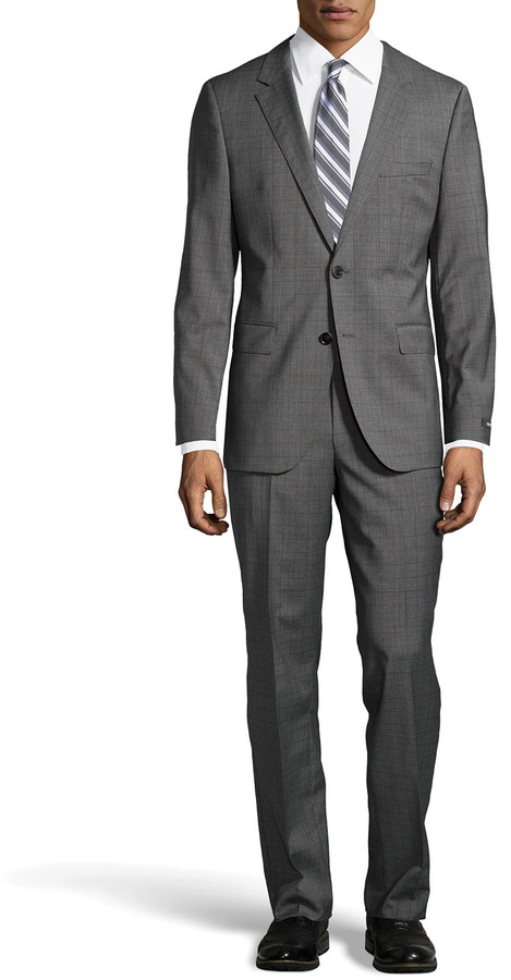 8761a0b03 ... Hugo Boss James Glen Plaid Stretch Wool Two Piece Suit Medium Gray ...