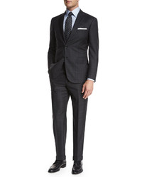 Brioni Plaid Two Piece Suit Charcoal