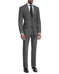 Tom Ford Shelton Base Mouline Prince Of Wales Plaid Two Piece Suit