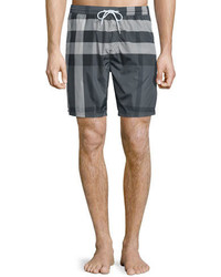 Burberry Check Swim Trunks Charcoal