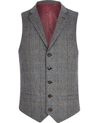 River Island Grey Check Single Breasted Vest