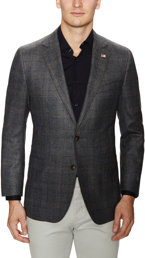 9c436dd625 $898, Brooks Brothers Wool Grey Glen Plaid Sportcoat
