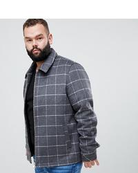 ASOS DESIGN Plus Wool Mix Zip Through Jacket With Window Pane Check