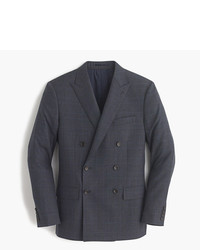 Charcoal Plaid Wool Double Breasted Blazer