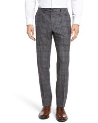 Incotex Benson Flat Front Plaid Wool Cashmere Trousers