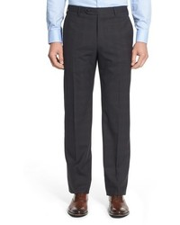 Zanella Devon Flat Front Plaid Wool Trousers