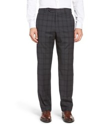 Zanella Flat Front Plaid Wool Trousers