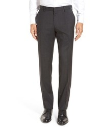 BOSS Genesis Flat Front Plaid Wool Trousers