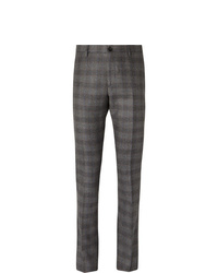Etro Grey Slim Fit Prince Of Wales Checked Wool Trousers