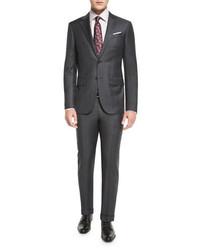 Ermenegildo Zegna Plaid Trofeo Wool Two Piece Suit Gray