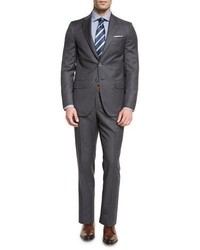 Isaia Super 130s Tonal Plaid Wool Two Piece Suit Gray