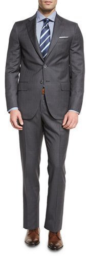 ... Isaia Super 130s Tonal Plaid Wool Two Piece Suit Gray ... 71989d8033bb