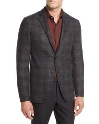 Ermenegildo Zegna Wool Plaid Two Button Blazer