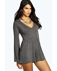 Boohoo Aby Deep V Neck Flare Sleeve Jersey Playsuit